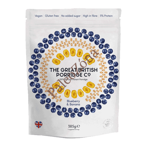 Instant  GM Zabkása áfonya@banán 385g- The Great British Porridge co